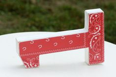 Bandana Birthday Decor / Red Bandana / Rodeo by DaydreamingKat New Bandana design 2015.  I am very excited about this Wild wild West Number! The Bandana is Bright and festive and it says Fun!!! Look at those cute horseshoes too. I painted this example white but if you want a different color let me know. Of course all of the birthday numbers are available in this Barn Yard Fun Number!