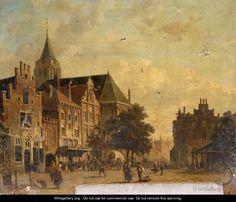 Dutch Town Scene - Adrianus Eversen