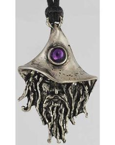 """Empowered with energy, this amulet is meant for those who wander, giving them a greater strength and wisdom in embracing their path. Hanging 2"""" long and crafted of the finest lead-free pewter, this amulet is shaped into the wizened features of an aged wizard wearing a travel-worn cap. With strong eyes gazing out from beneath the brim of his hat, and a colorful gem that marks his mind`s eye, he lends strength and guidance to those who wear it. He comes with a 30"""" cord to hang on, you ca $5.95"""
