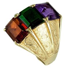 18k Retro 1950s Amethyst Tourmaline and Citrine Tripple Stone Gold Ring.    Stunning Triple Stone Ring featuring genuine emerald-cut Amethyst, green Tourmaline and Citrine gemstones, claw-set in handmade, hammered and beautifully engraved 18k yellow gold mounting; each stone measures approx. 19.5mm x 17.5mm. Interior marked: 18K. Slip it on to infuse your look with instant style and elegance! Circa 1950s.   in Jewelry & Watches, Vintage & Antique Jewelry, Fine | eBay