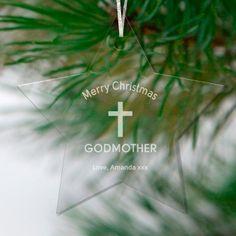 Engraved Star Godmother Decoration