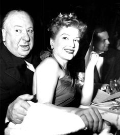 Alfred Hitchcock and Anne Baxter at the Directors Guild awards ceremony. February, 1953