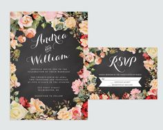 Chalkboard Wedding Invitation by RememberNovemberShop, $28.00