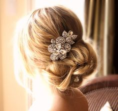 Large Crystal Flower Headpiece Bridal Wedding Accessories Special Occasion Hair Accessories. $65.00, via Etsy.