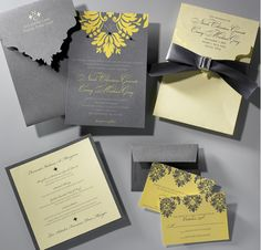 Grey & yellow #wedding invitations & wedding stationery ... Wedding ideas for brides, grooms, parents & planners ... https://itunes.apple.com/us/app/the-gold-wedding-planner/id498112599?ls=1=8 … plus how to organise an entire wedding ♥ The Gold Wedding Planner iPhone App ♥