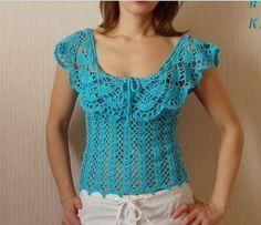 Shame there's no pattern, sooo pretty ^_^ Gilet Crochet, Crochet Tunic, Crochet Clothes, Crochet Lace, Free Crochet, Crochet Woman, Crochet Fashion, Beautiful Crochet, Lace Tops
