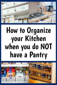 Kitchen Storage Solutions For a No Pantry Kitchen - kitchen organization is HARD without a pantry - here are 37 clever storage ideas to help you organize your small kitchen that does NOT have a separate pantry closet or cabinet Kitchen Without Pantry, Small Kitchen Pantry, Kitchen Pantry Cabinets, Small Kitchens, Small Kitchen Ideas Without Cabinets, Diy Kitchen, Kitchen Hacks, Kitchen Design, Kitchen Decor