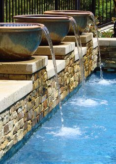 1000 images about pool waterfall ideas on pinterest - Swimming pool water feature ideas ...