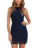 NALATI  Vintage Sleeveless Lace Dress Neckholder Dress Mini Dress Evening Dress Party Dress It is a good gift for your woman.