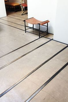 concrete floor with metal inlay