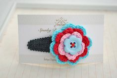 Blue Crochet Hair Accessory  Crochet Flower Hair by SpunkyBunny, $5.00