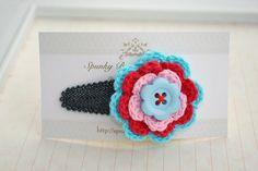 Blue Crochet Hair Accessory  Crochet Flower Hair by SpunkyBunny, $5.00