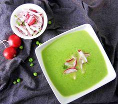 Vegane Wasabi-Erbsensuppe mit  Minz-Radieschen