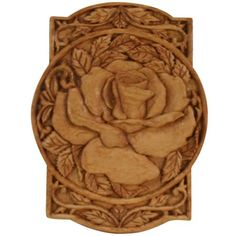 """Rose Relief  Wood Carving (size:6""""x 8"""") Diane Reed   COA9003"""