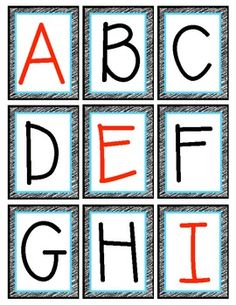 A set of free alphabet printables with vowels in red, the capital letter 'i' has the serifs (!) and the 'q' has the little flip at the bottom. Fun Classroom Activities, Preschool Lessons, Kindergarten Literacy, Alphabet Activities, Language Activities, Classroom Ideas, Letter Flashcards, Alphabet Cards, Alphabet Letters