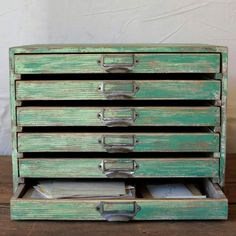 Distressed Desktop Chest Of Drawers.  Need to make something similar for patter/stencil storage