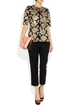 Marni|Floral cotton-blend brocade top