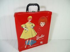 Vintage Barbie Doll Case - Retro Red Patent Leather Vinyl Barbie Doll Carrying Case - Vintage Mattel Single Fashion Doll Collection Display $39.00 by DivineOrders