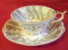 Antique Rockingham Cup & Saucer, Puce Mark, ca.1830-1840