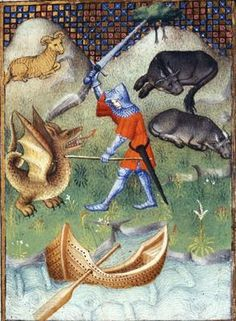 Jason battling the dragon that guards the Golden Fleece. Christine de Pizan, 'L'Épître Othéa' in The Book of the Queen, c. 1410-14 (Paris). BL Harley MS 4431 fol. 98v. Made for Isabeau of Bavaria, Queen of France. Prob. presented to her as a New Year's gift, Jan 1414. Later owned by John, Duke of Bedford; his wife, Jacquetta of Luxembourg; her son by her 2nd husband, Anthony Woodville, 2nd Earl Rivers; Louis de Gruthuyse; Henry Cavendish, duke of Newcastle.