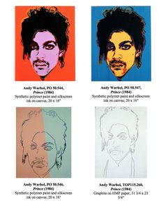 Warhol portraits of Prince (musician) 1984 Warhol Paintings, Unique Paintings, Roger Nelson, Prince Rogers Nelson, Andy Warhol, Portraits, Movie Posters, Art, Art Background
