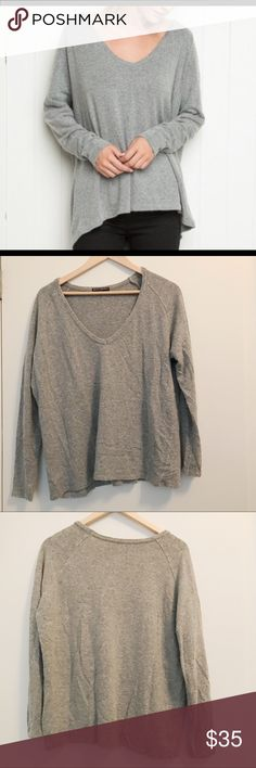Brandy Melville Sweater Grey fuzzy oversized sweater. Goes great with everything and is super comfy and warm! Brandy Melville Sweaters V-Necks