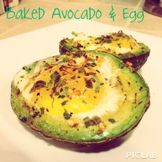 Baked Avovado & Egg - super easy! 1. Preheat oven to 450 degrees. 2.  Slice avocado in half, remove pit, hollow out a little extra space for the egg, and sprinkle with salt. 3. Crack 1 egg into each half of the avocado, it's ok if a little of the egg white spills over, just try to keep the yoke intact.  4. Season as you like. 5. Bake for 15 minutes or until egg whites are solid.