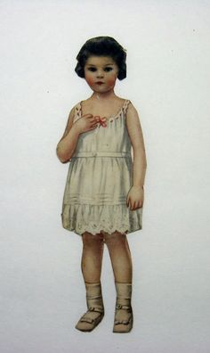 Angelic Victorian Paper Doll Toddler with Dark Hair