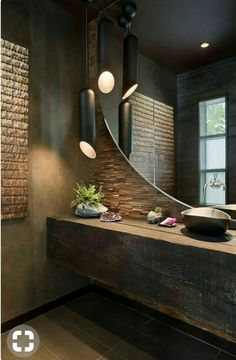 Startling Useful Ideas: Natural Home Decor Ideas Stones natural home decor bathroom master bath.Simple Natural Home Decor natural home decor rustic bathroom sinks.Natural Home Decor Boho Chic Coffee Tables. Industrial Bathroom, Rustic Bathrooms, Modern Bathroom, Master Bathroom, Stone Bathroom, Mirror Bathroom, Masculine Bathroom, Modern Industrial, Bathroom Fixtures
