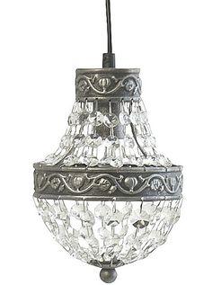 www.gardsromantik.se - Kristallkrona antiksilver silver liten glasprismor shabby chic lantlig stil