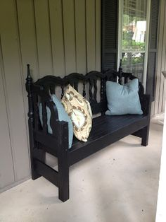 a few good pieces...: look what my dad made! several headboard bench photos and a painted buffet ( Dark, heavy carved upcylced by painting off-white)
