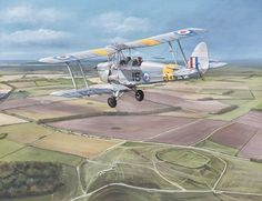 De Havilland Tiger Moth watercolour and gouache painting