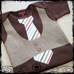 0-3M -- Brown Vest -- White Stripe Tie -- Brown bodysuit. $24.00, via Etsy.
