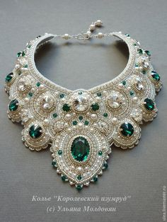 """Jewelry Beaded Elegant necklace """"Royal emerald"""" – shop online on Livemaster with shipping - Elegant necklace """"Royal emerald"""" - buy or order in an online shop on Livemaster Bead Embroidery Jewelry, Beaded Jewelry Patterns, Beaded Embroidery, Beaded Jewellery, Jewellery Shops, Jewellery Box, Bracelet Patterns, Embroidery Bracelets, Swarovski Jewelry"""