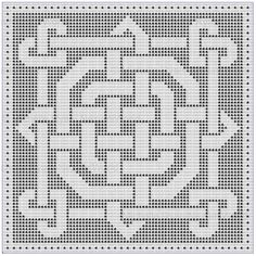 filet crochet Please note: This pattern is also available in the E-Booklet Celtic Knotwork Hearts Collection Filet Crochet Charts, Crochet Motifs, Knitting Charts, Crochet Squares, Thread Crochet, Crochet Stitches, Crochet Patterns, Zentangle Patterns, Crochet Ideas