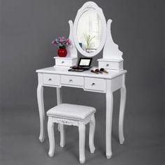 Coiffeuse Songmics® Coiffeuse table blanche de maquillage av