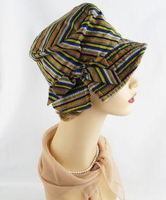 Vintage+80s+Hat+Neon+Stripe+Fabric+Mr+John+Jr+por+alleycatsvintage