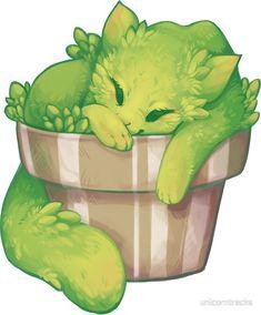 """Cactus Cat"" Stickers by unicorntracks Cute Kawaii Drawings, Cute Animal Drawings, Cool Art Drawings, Kawaii Art, Cute Fantasy Creatures, Mythical Creatures Art, Cute Creatures, Cactus Cat, Buy Cactus"