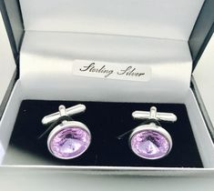 These stunning cufflinks are handmade with 925 Sterling Silver & Lilac Swarovski Crystals.  Lilac is the colour, although many colours also available, these make perfect gifts for birthdays, anniversary's and wedding accessories.  Crystals are the chosen gifts for 15 year wedding anniversary.  Matching earrings and necklaces make great bridesmaids gifts/accessories to match our wedding theme. 15 Year Wedding Anniversary, Anniversary Gifts, Handmade Sterling Silver, Handmade Wedding, Wedding Accessories, Lilac, Swarovski Crystals, Bridesmaids, Cufflinks
