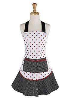 Design Imports Black And Red Polka Dot Ruffle Apron (India - Machine Wash), Multi (Cotton, Dots) Cute Aprons, Aprons For Men, Plaid Apron, Bib Apron, Ruffle Apron, Ruffle Trim, Embroidered Apron, Extra Long Ties, Apron Pockets
