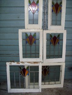 15 original stained glass leaded windows 1930 s
