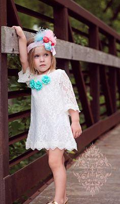 Rustic Flower girl dress flower lace HEADBAND by KateGraceRose