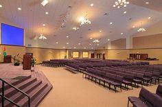 Church Sanctuary Design & Construction - goldish creamy walls, star-like lighting