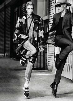 Power Puff  Publication: Elle US November 2014 Model: Stella Maxwell, Jacob Larsen Photographer: Max Vadukul Fashion Editor: Sabina Schreder Hair: Cecilia Romero Make-up: Hung Vanngo