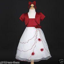 Christmas Party Pageant Wedding Bolero Flower Girl Dress 2 4 6 8 10 - Apple Red