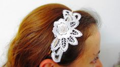 Free shipping white lace with silver plated flower headband bride headpiece wedding $21.00, via etsy.