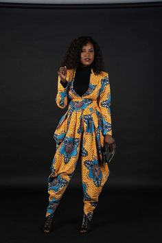 Rahyma Fann African Print Pleated Harem Pants