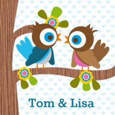 trendy geboortekaartje tweeling, met twee vogeltjes, een boom met bloemen. Maak zelf het geboortekaartje online #geboortekaartjes #tweeling
