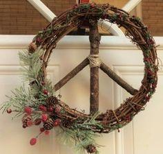 Peace Sign Christmas/Winter Wreath/Glitzy Berries Grapevine Peace Sign Wreath/Holiday Peace Sign/Boho/Christmas Peace Sign/Hippie Christmas