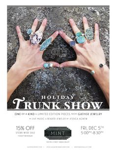 Gather Jewelry Holiday Trunk Show, Mint, Grass Valley, Friday, December 5th 5-8:30pm